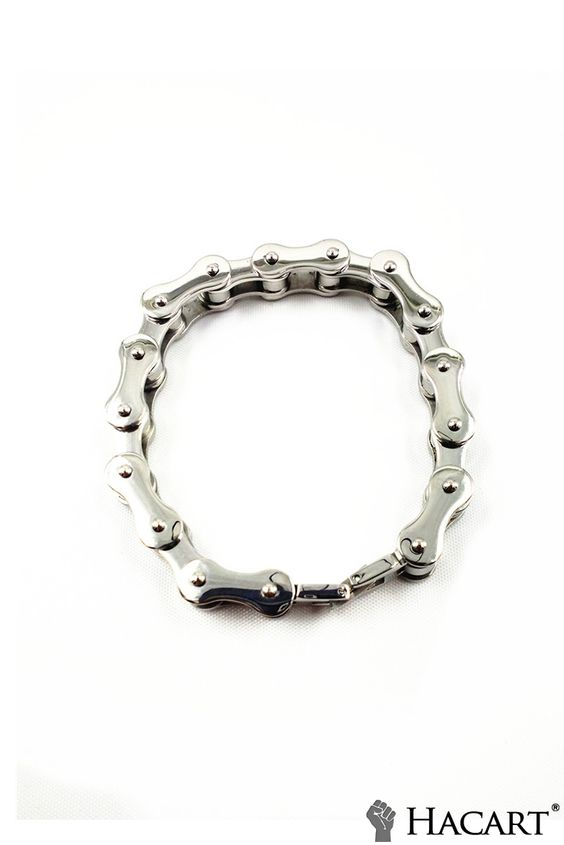 """Hacart Fashion Jewelry ★ Heavy Titanium Steel Biker Chain Bracelet With Cool Branded Gift Bag (Size 8.07"""", Silver Color) $15"""
