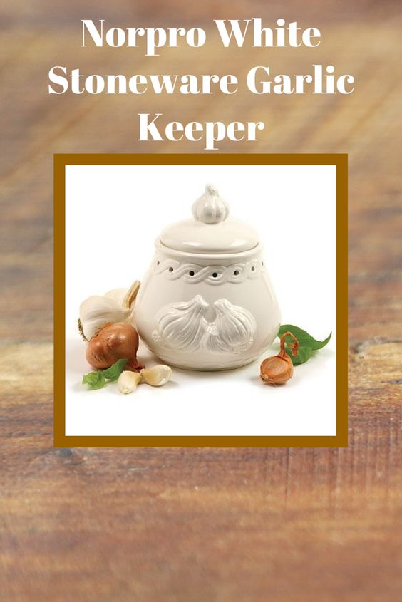 Norpro White Stoneware Garlic Keeper protects your garlic from light for a longer shelf life. Decorated with an embossed garlic bulb, this pot preserves up to 1/2 dozen garlic bulbs. Nonporous stoneware with vent holes promotes proper airflow to keep garlic cool and dry. #mothersday