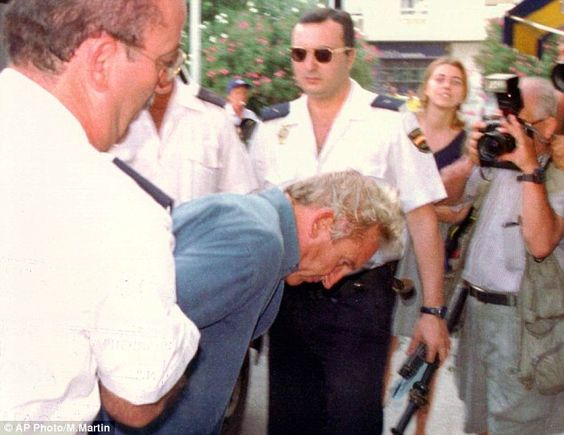 Fugitive: Kenneth Noye, who was jailed for handling the Brink's-Mat bullion, being arrested in Spain in 1998 over the 'road-rage' murder of Stephen Cameron