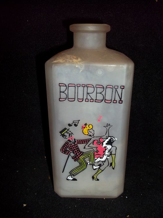 Bourbon Frosted Liquor Bottle with Dancing Couple