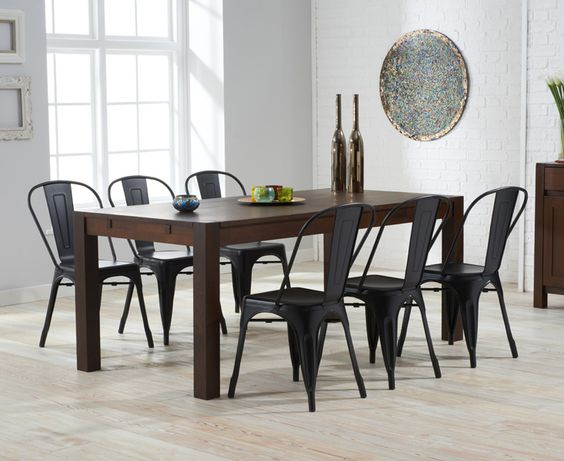 Verona 150cm Dark Solid Oak Extending Dining Table with Xavier Tolix Industrial Style Metal Chairs