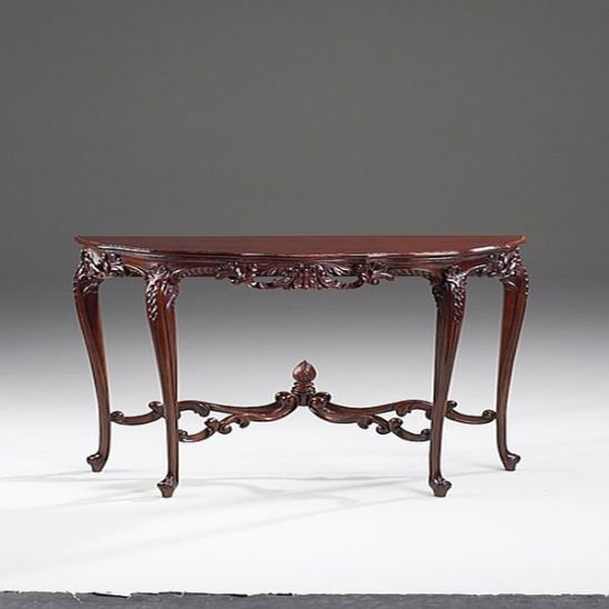 French Rococo Louis XV Style - 40 Inch Entry Console Reproduction Carved Hardwood Table - Rich Wood Finish