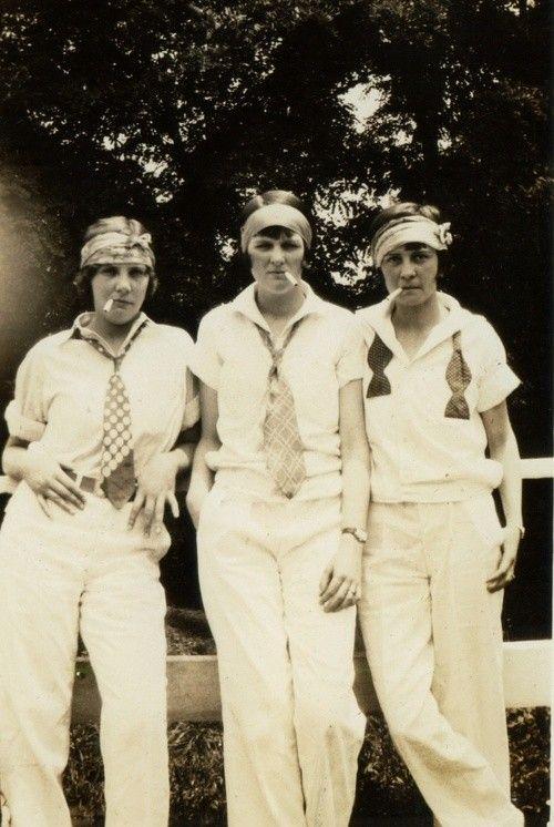 flappers 20s 30s tennis sports wear white pants shirt tie headband bow trouser button down belt bob cigarette: