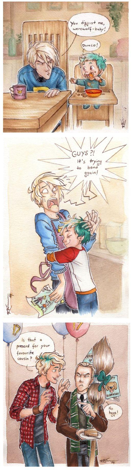 Draco and Teddy (Draco wears a Weasley sweater! and has a princess mug!) ... draco malfidus, harry potter, teddy lupin, draco, malfidus, teddy, lupin
