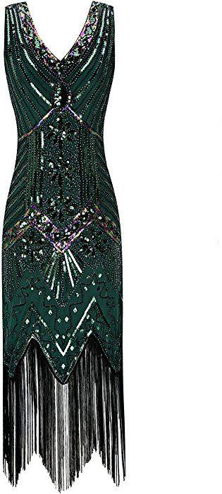 ROYAL SMEELA Robe Longue Femmes Gatsby Soir/ée Bal Robe Col en v Perspective Engrener Manche Longue Robes Maxi Art D/éco Plis /à la Taille Moulante Entreprise Formel Robe de Cocktail