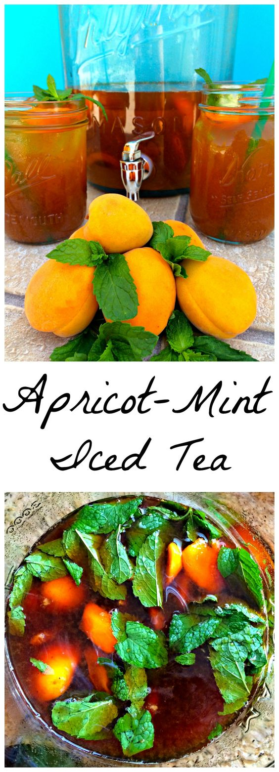 Mint Iced Tea ~ Tea stepped with fresh apricot and mint and iced ...