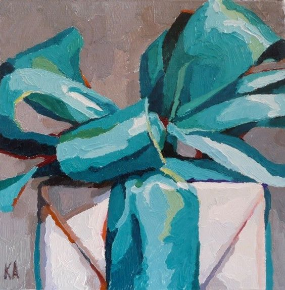 Karen Appleton paints the coolest paintings of bows and packages! I absolutely love them! http://www.karenappleton.com/Karen_Appleton/available/available.html