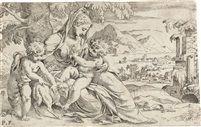 Maria mit dem Kind und dem Johannesknaben (after Paolo Farinati) von Orazio (Horatio) Farinati  Sohn von Paolo Farinati Griff ans Schultertuch( Jeuskind)