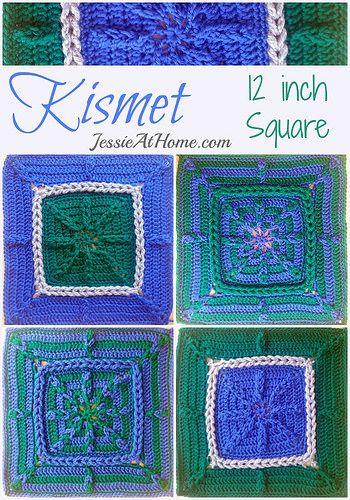 Knitting Patterns For 12 Inch Squares : Kismet 12 inch Crochet Granny Square by Jessie At Home Afghans, Lapghans, Q...