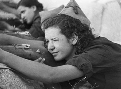 Woman Aiming Rifle, Spain 1936