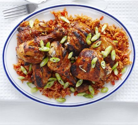 Piri-piri chicken with spicy rice. Use a lime-spiked spicy marinade to coat thighs and drumsticks then roast and serve with paprika rice for a cheap and healthy supper