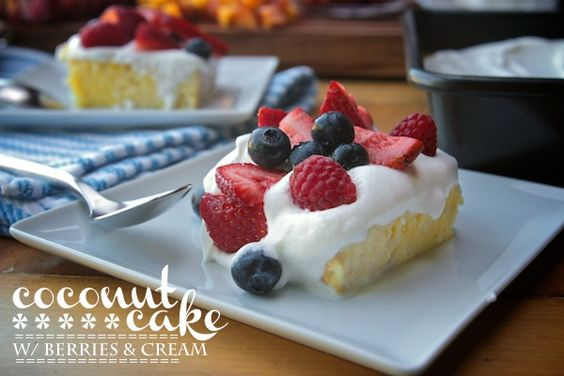 COCONUT CAKE WITH BERRIES  CREAM