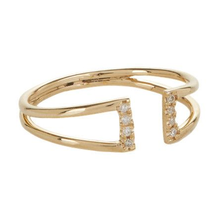 Jennie Kwon Diamond & Gold Buckle Ring at Barneys.com