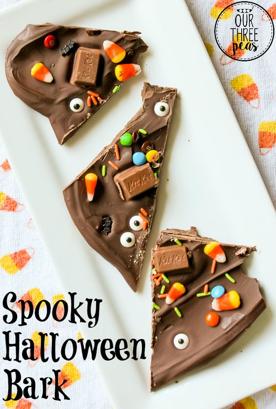 This Spooky Halloween bark is so easy to make and even more fun to eat, and your little ones will love helping you make it! | Our Three Peas