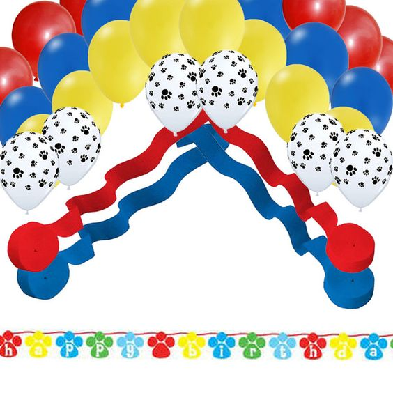 Streamer decorations dog parties and balloon party on for Balloon banner decoration