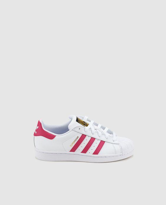 Zapatillas deportivas de lona de niña Adidas blancas con franjas rosas