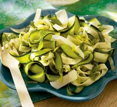Zucchini Ribbon Pasta Salad with Parmesan Curls
