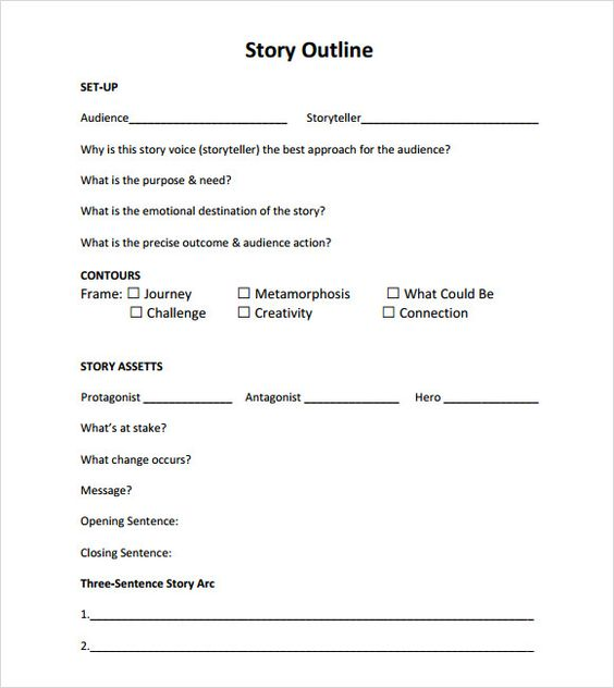 Story Outline Template Pdf Story Outline Template Story Outline Writing Outline