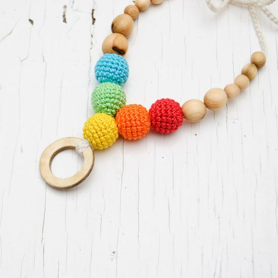 Coconut Rainbow Nursing Necklace / Teething by KangarooCare