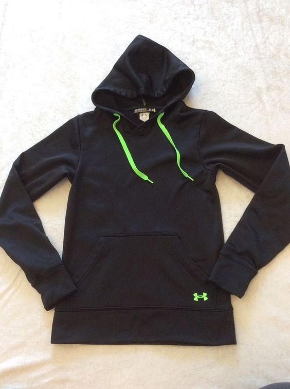 Under Armour Xs Womens Hoodie Pullover Black Green Semi Fitted Kanga Pocket Logo #UnderArmour #Hoodie