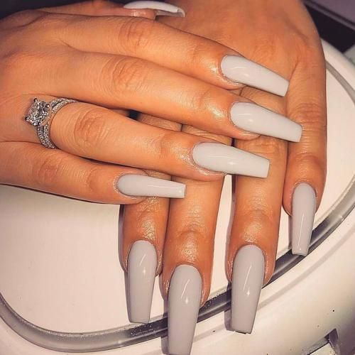Grey Acrylic Nails Coffin Nails Long Grey Acrylic Nails Acrylic Nails
