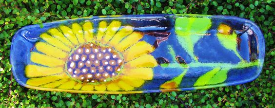 Fused Glass Sunflower Bread Plate