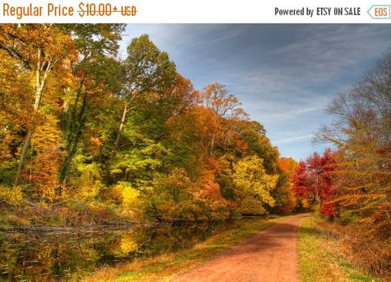SALE 20% OFF Canal and Towpath in Autumn Landscape Photograph Fall Foliage Trees Green Yellow Orange Color Photography Zen Nature Bucks Coun
