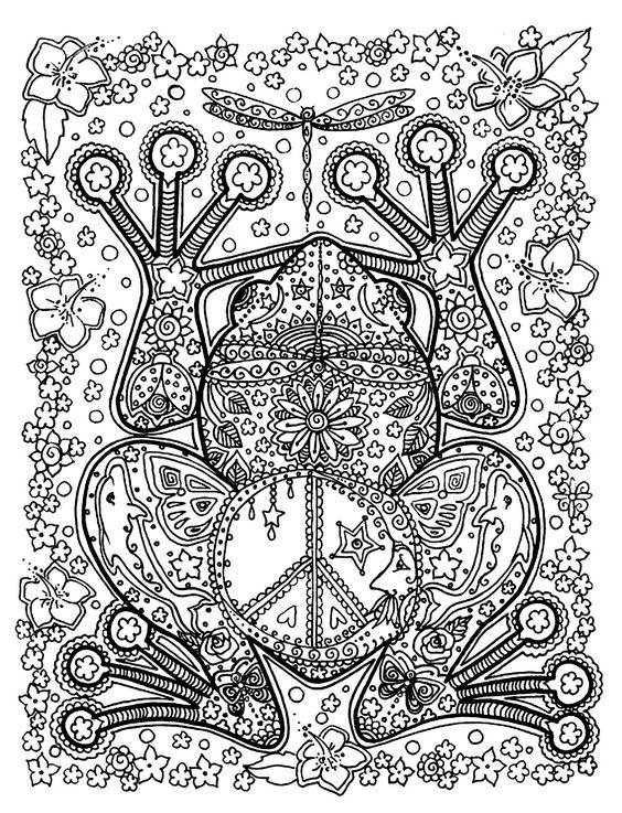 Free coloring page «coloriage-adulte-animaux-grenouille-motifs». Une belle grenouille et ses motifs