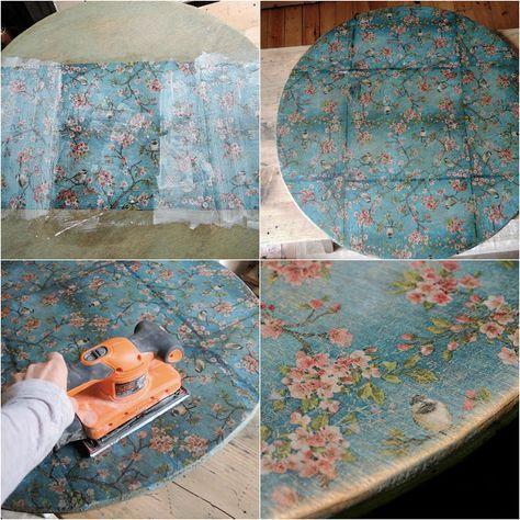 Mesa decorada con servilletas para decoupage con la técnica del decapado. Esta servilleta y muchas más en nuestra tienda online: www.cosqueretas.es