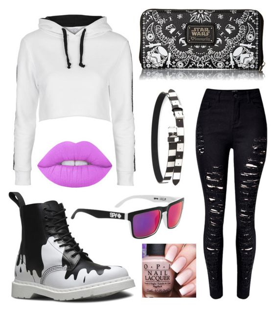 Get out by lizafterdeath on Polyvore featuring polyvore fashion style Topshop WithChic Loungefly MM6 Maison Margiela Dr. Martens Spy Optic Lime Crime clothing
