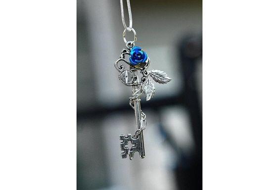 Blue Winter Rose Key Necklace