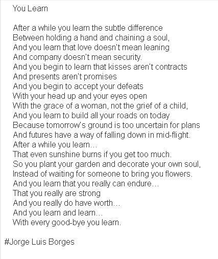 You Learn (by Jorge Luis Borges) by st64 - Hello Poetry