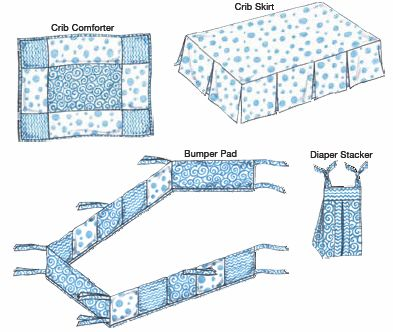 Kwik Sew 3685 Crib Comforter Skirt Fitted Sheet Bumper Pad