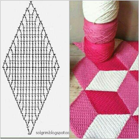 Diamond crochet join blanket 3D cube pattern,  #3D #blanket #crochet #cube #diamond #join #pattern,