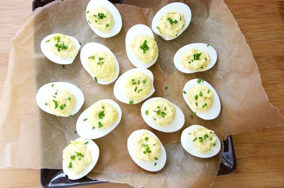 Moms Deviled Eggs - Dula Notes (Egg products Animal products Appetizer / sides Dry mustard Chives Black pepper Mayonnaise Truffle salt Sea salt Eggs)