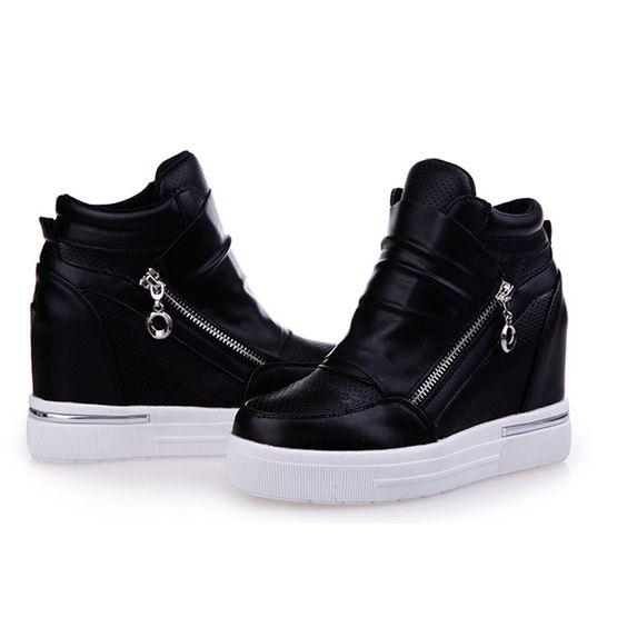 Frete grátis sapatos womancasual sapatos zíper aumentando salto zapatos de tacon alto em preto sapatos casuais zapatillas mujer 57 em Mulheres ' s sapatos casuais de Sapatos no AliExpress.com | Alibaba Group