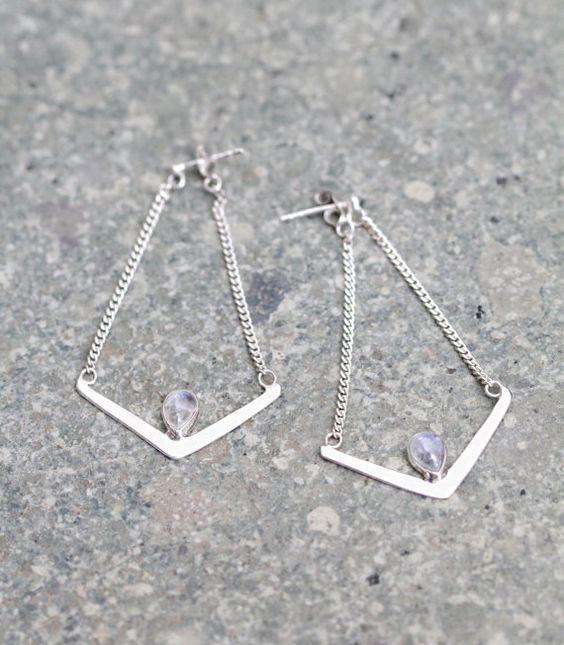 Moonstone Earrings, Dangle Earrings, Chain Earrings, Boho Earrings, Chic Earrings, Moonstone Jewelry, Gypsy Earrings, Bohemian Earrings