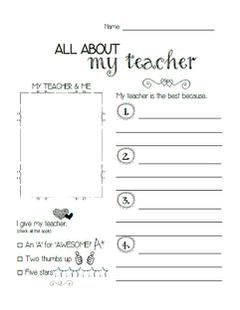 Printables Teacher Worksheet all about my teacher printable student keepsakes and with its fun design this worksheet not only provides students
