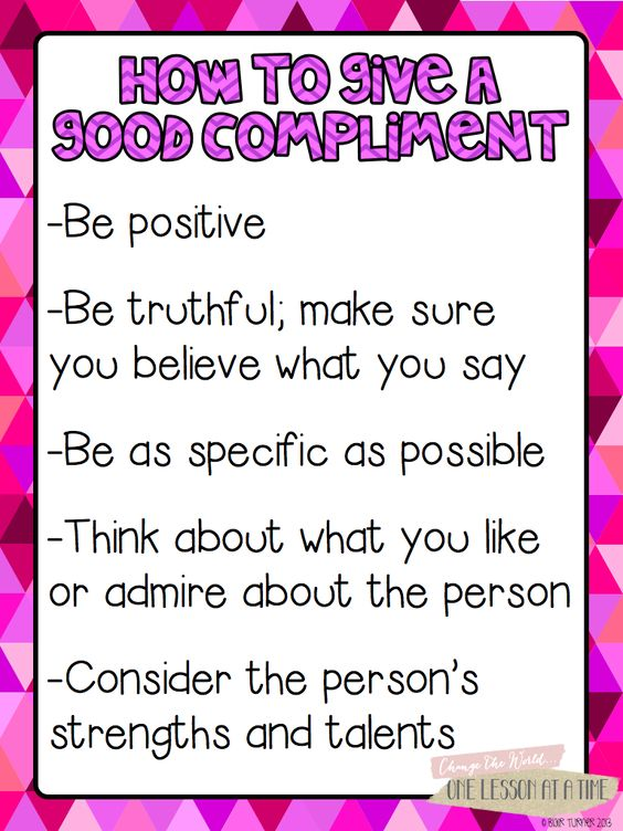 How to Give a Good Compliment.  Includes a list of positive character traits to look for in others and great ideas for writing.  Awesome!