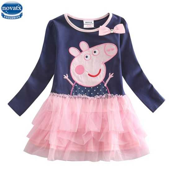 Nova Kids 2015 new style Fashion O-neck navy Long Sleeve Cartoon Character Printed with voile or mesh Spring Autumn girl dress #>=#>=#>=#>=#> Click on the pin to check out discount price, color, size, shipping, etc. Save and like it!