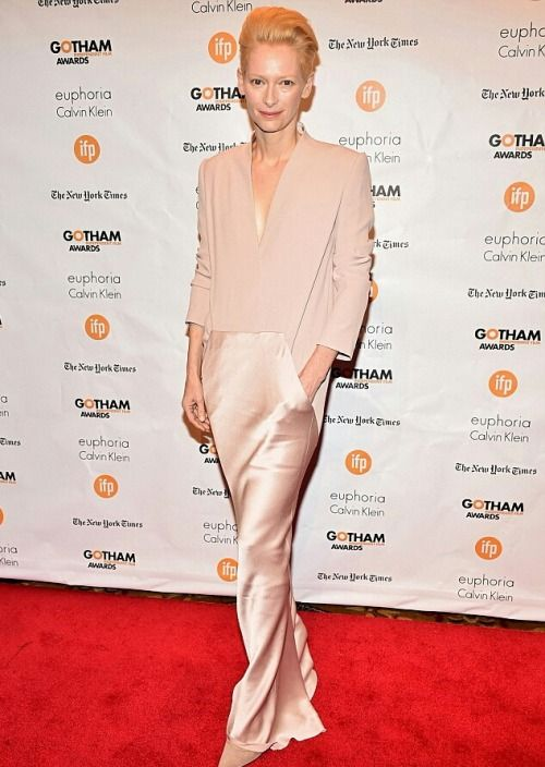 Tilda Swinton attends the 2014 Gotham Independent Film Awards, December 1, 2014 (Looks like she's wearing Haider Ackermann) Update: Yes, she's wearing Haider Ackermann.