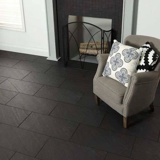 American Olean Carbon Mist Slate 12 In X 24 In Glazed Porcelain Stone Look Floor And Wall Tile Lowes Com In 2020 Slate Tile Floor Floor And Wall Tile Wall Tiles