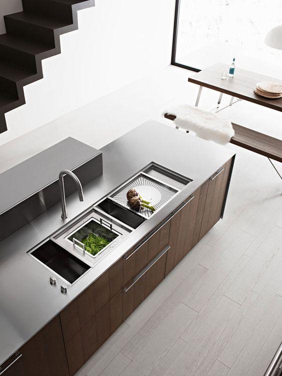 Kitchen Design, Kitchen Remodel Ideas Slink From Top View Stairs: Kalea Kitchen Remodel Ideas and Guitar Slink by Italian Manufacturer Cesar...