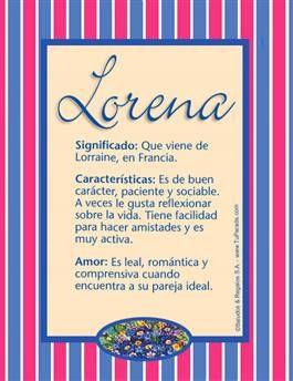 Nombre Lorena Significados De Los Nombres Nombres De Niñas Nombre