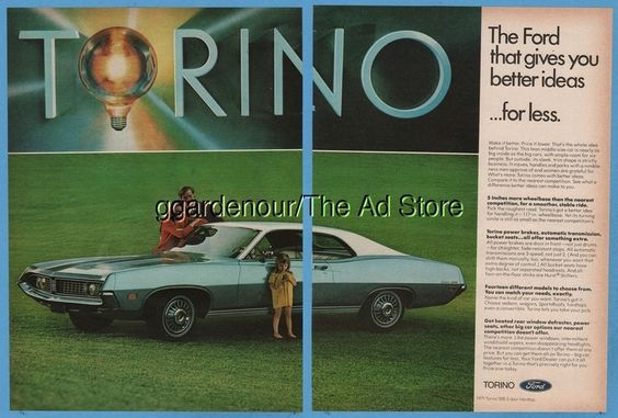 1971 Ford Torino 500 Photo vintage 1970 magazine print car ad