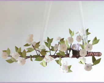 White tree limb with purple bird mobile- Baby Mobile- Nursery Mobile