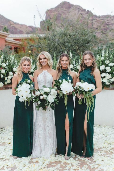 High Neck Bridesmaid Dresses Teal Bridesmaid Dresses Long