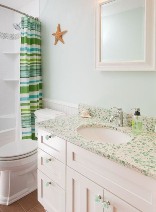 Recycled Sea Glass Style Countertop Ideas For Kitchen Bath