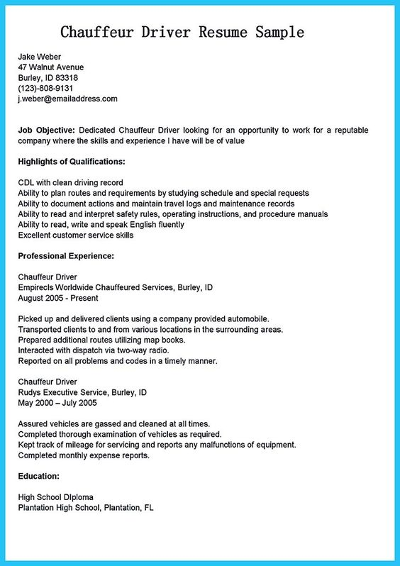 cool Stunning Bus Driver Resume to Gain the Serious Bus Driver Job - chauffeur resume