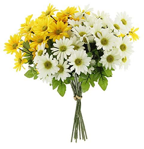 Larksilk Artificial Daisy Bouquet 14 Yellow /& White Flowers